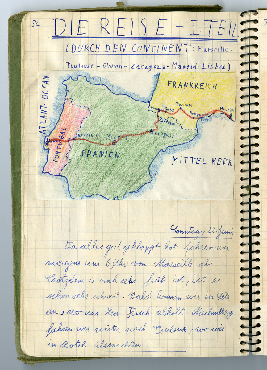 Page of the diary of Hans Vogel tracing the family's journey from Germany through France and eventual immigration to the United States.  This page shows their journey from France to Lisbon where they boarded the Nyassa.