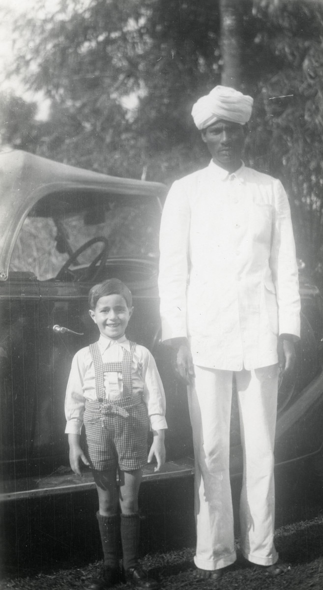 A young Vladimir Weeg poses with an Indian servant  shortly after his arrival in India.