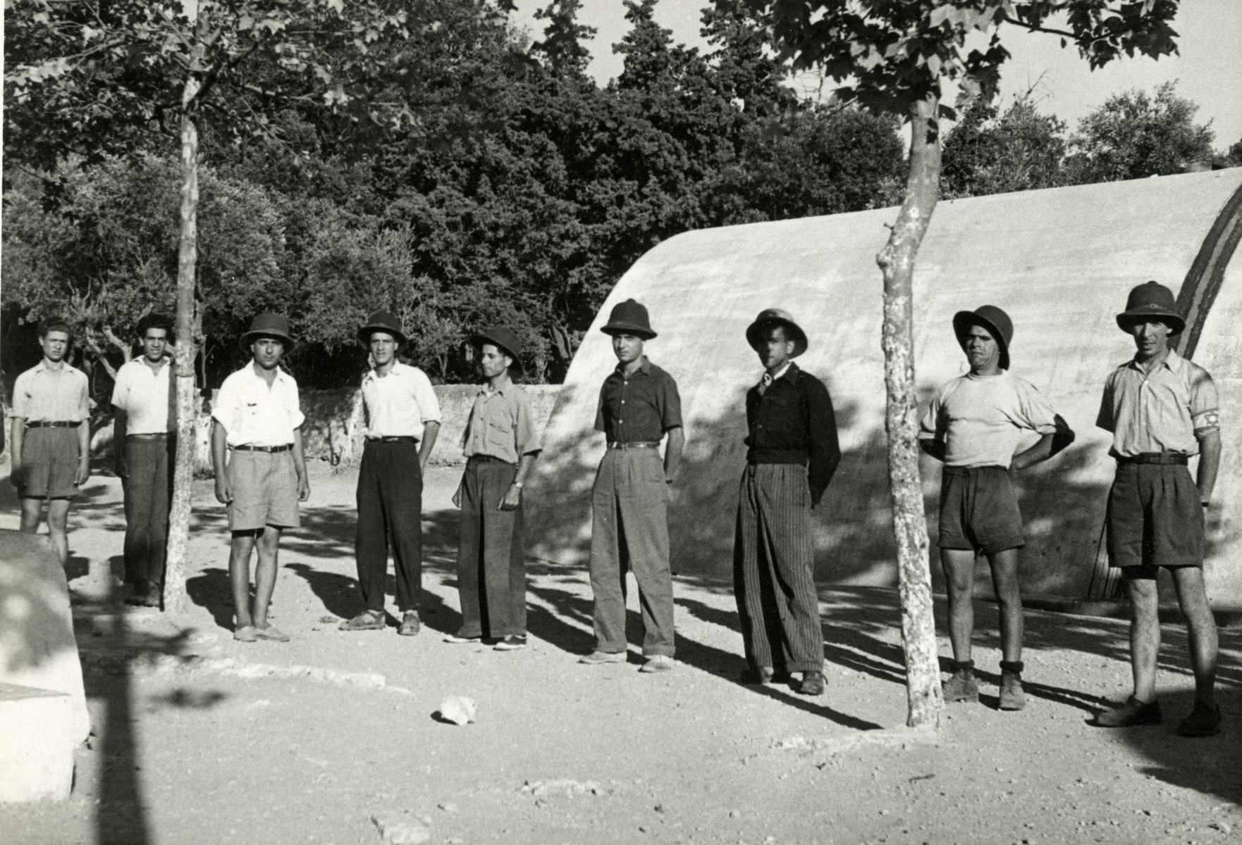 The training police gather for a roll call in Mahane David, an immigration camp for North African Jews en route to Israel.