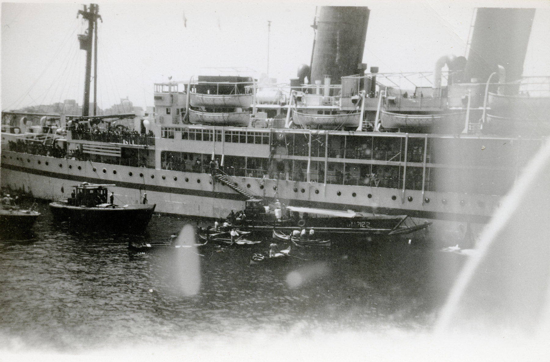 An exterior view of the ship Negba, which carried Jews to Israel.