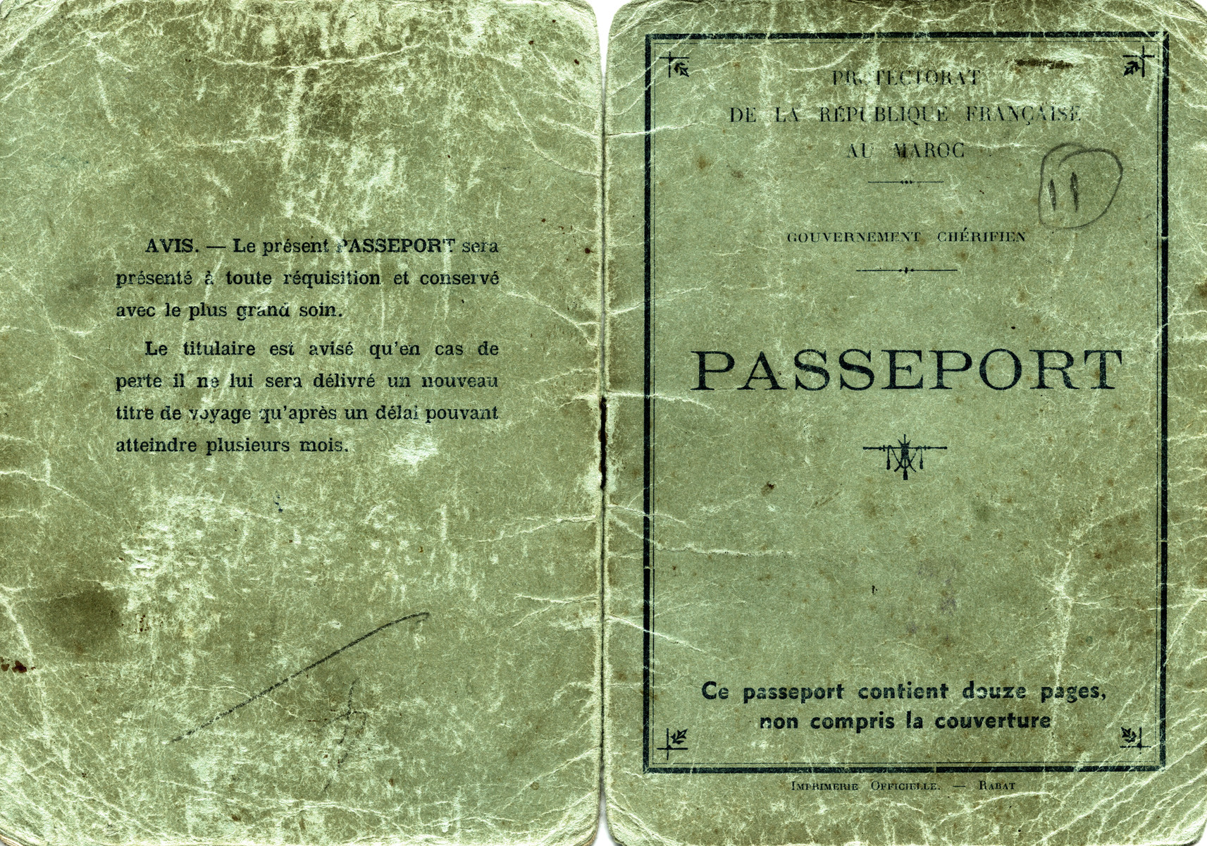 The front and back cover of Shimon Sousson's Moroccan passport.