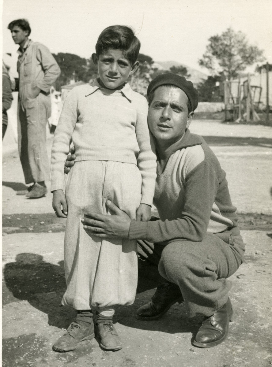 Shimon Sousson and his son Mordechai pose in Marseilles prior to their immigration to Israel.