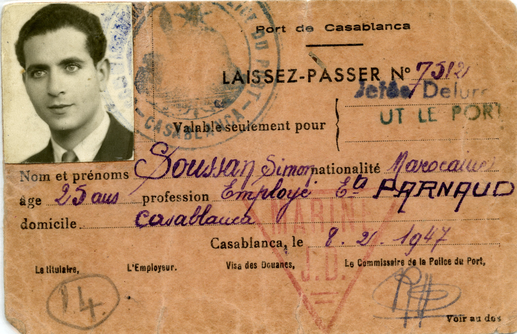 Identification paper of Simon Soussan [sic].