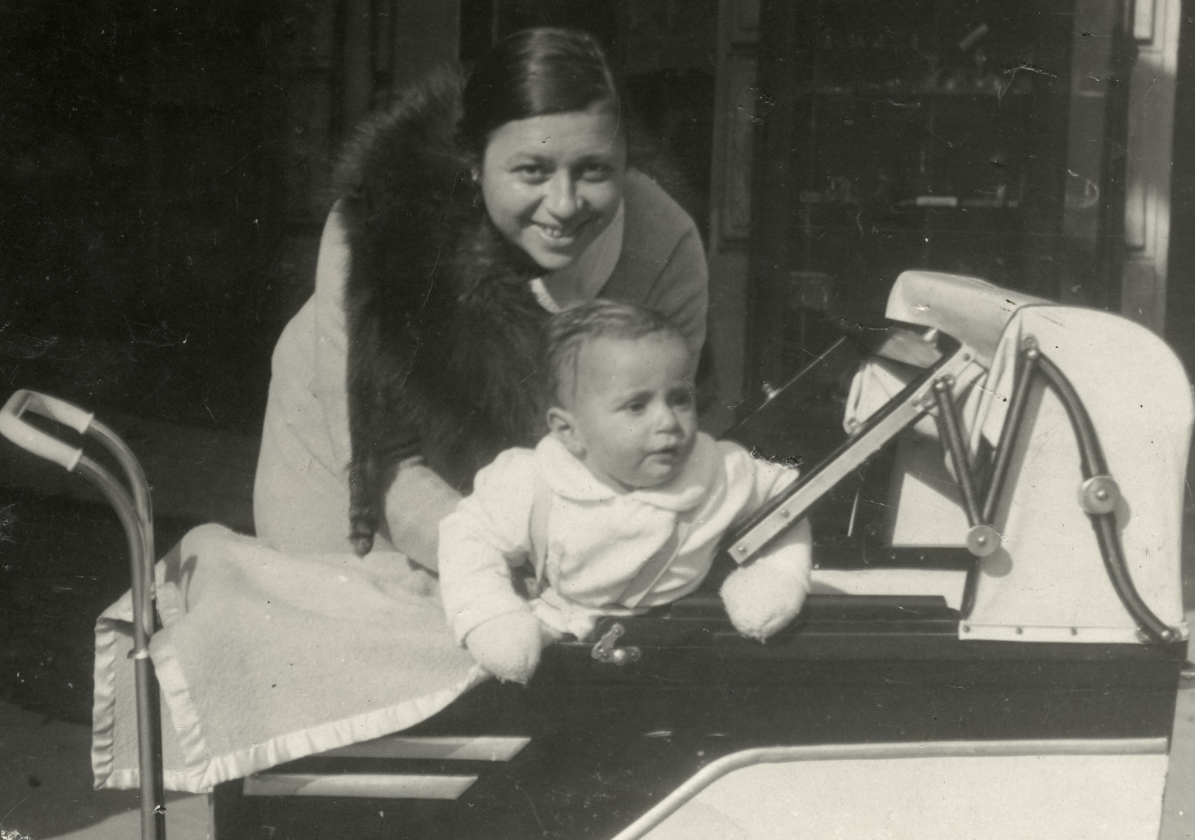 Esther Weeg poses for a picture with infant Vladimir in prewar Marienbad, Czechoslovakia,