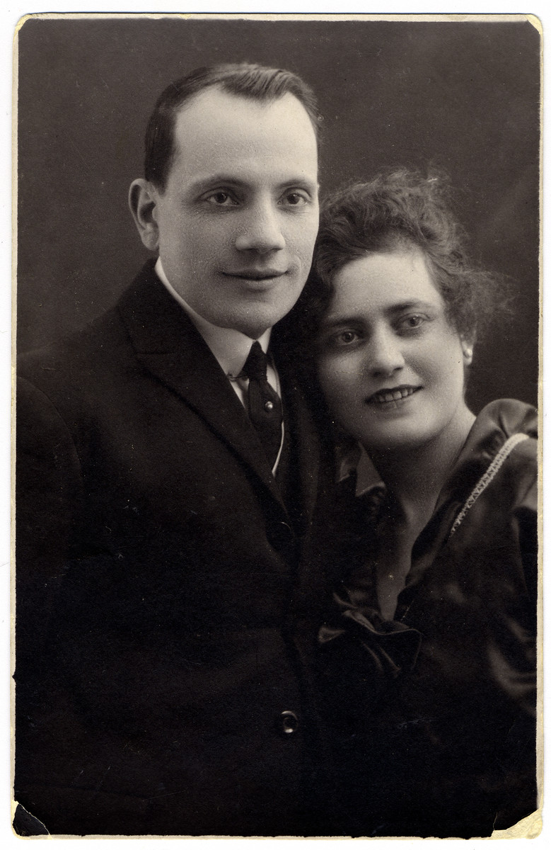 Studio portrait of Maurice and Gabrielle Flake, parents of the donor who perished in the Holocaust.