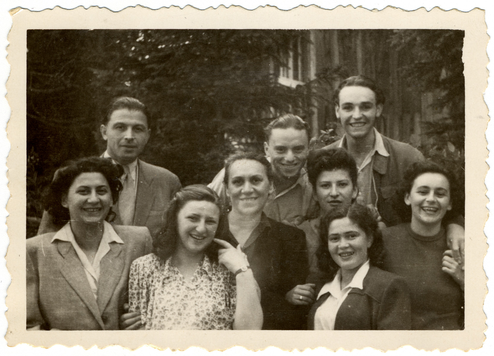 Young survivors pose with their nurse and doctor in a sanatorium in the Tatry Mountains.  Ruth Friedman is pictured second from the right.  The nurse is on the far left and the physician is the woman in the center.
