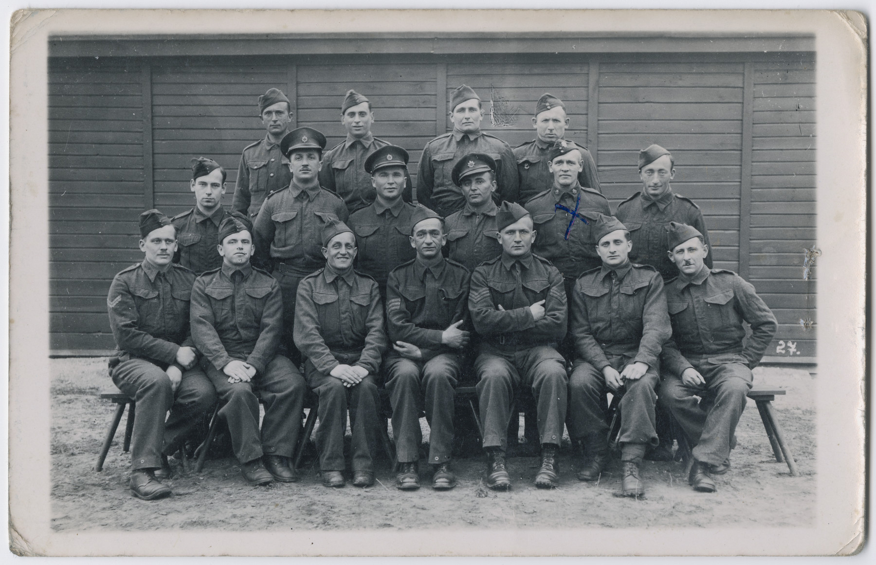 Group portrait of captured British soldiers in Stalag VIIIB in Lamsdorf.  Among those pictured is Erich de-Beer, a German Jew who immigrated to Palestine, joined the British army and was taken prisoner on the Isle of Crete.