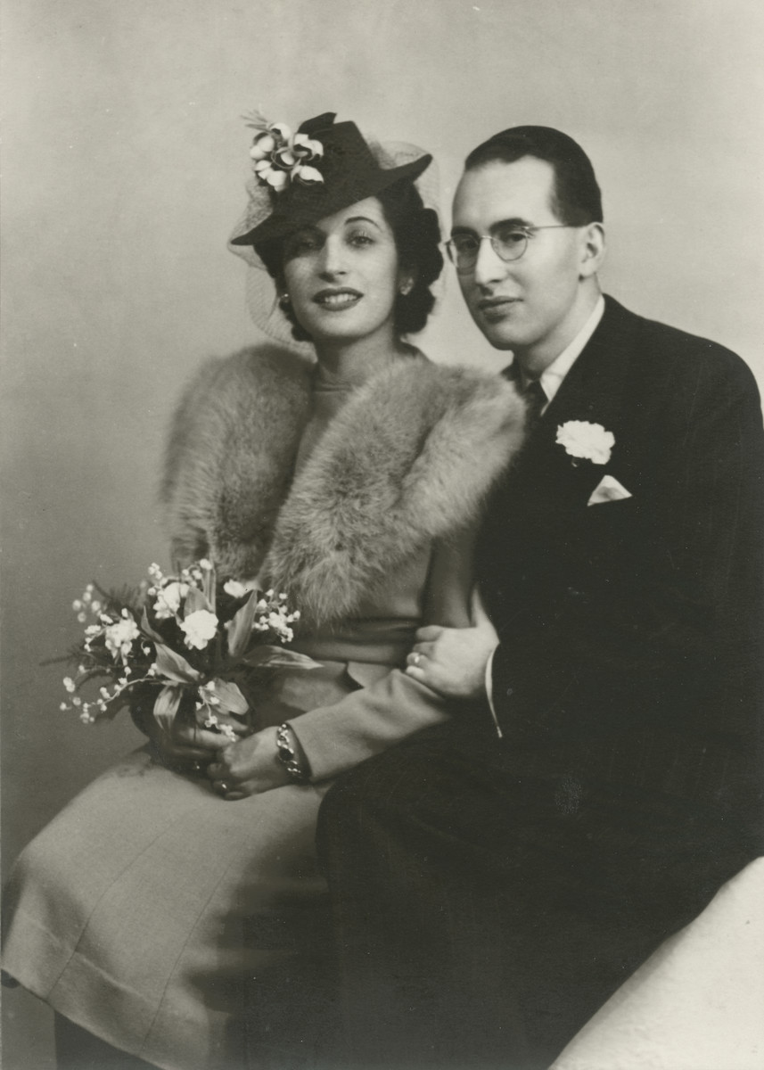 Studio wedding portrait of Frank Hausner and Betty Heimann.