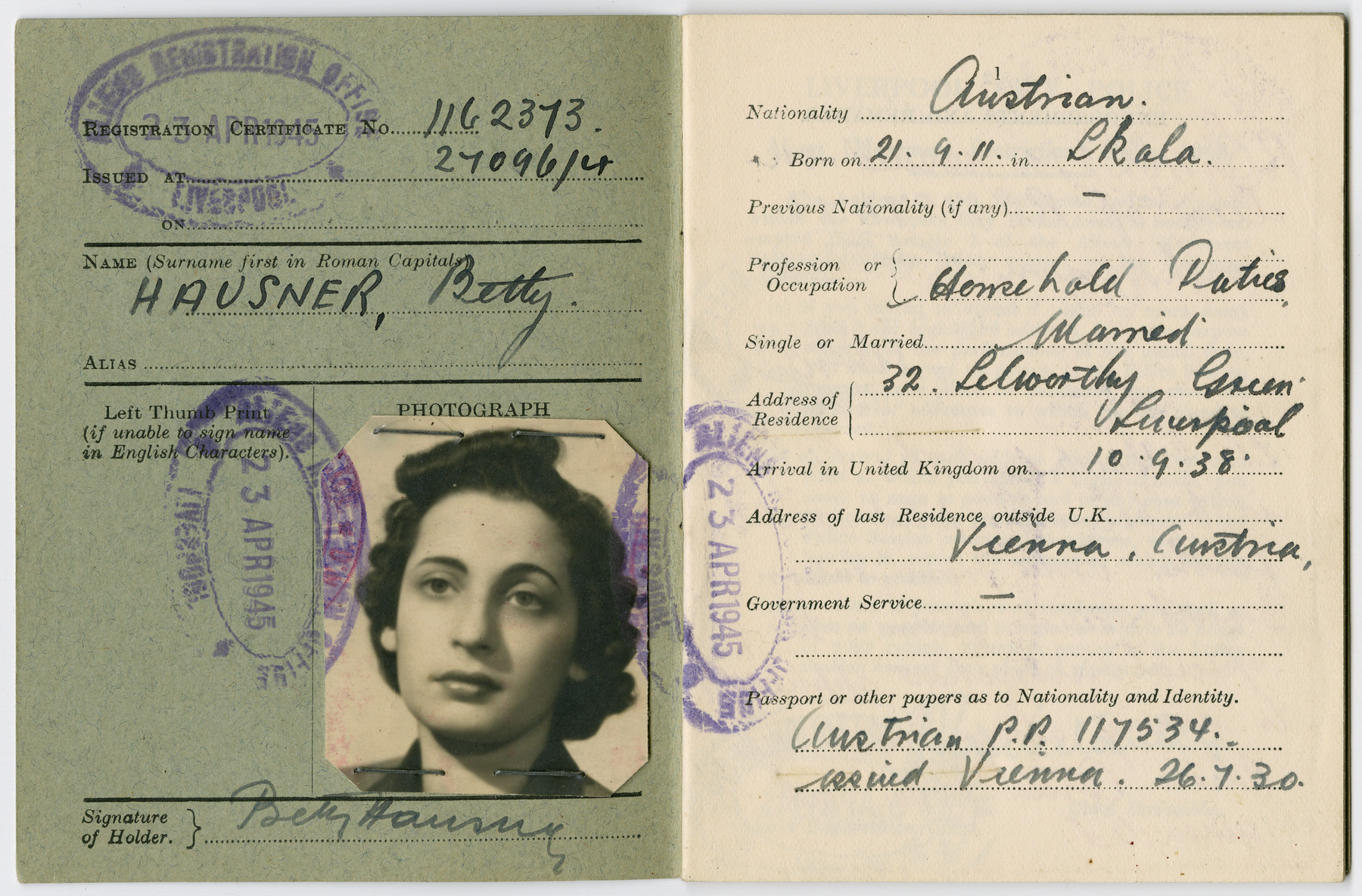 "Alien registration card issued to Betty Hausner.  The front of the card states that ""You must produce this certificate if required to do so by any Police Officer or member of His Majesty's forces acting in the course of his duty."""