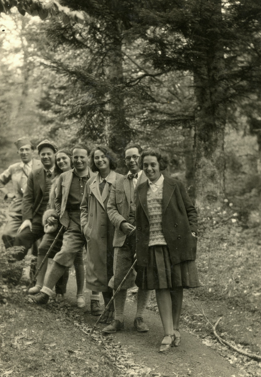 A group of young people goes for a walk in the woods of Yugoslavia.