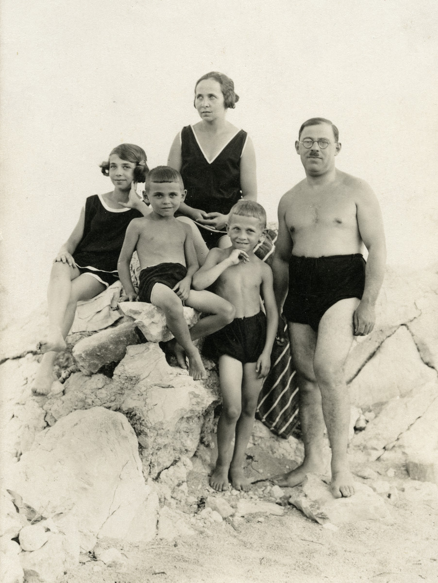 The Brodarics,a Croatian Jewish family, poses on a rocky beach.  Pictured are Blanka Brodaric, her parents and brothers. All of them perished in the Holocaust.