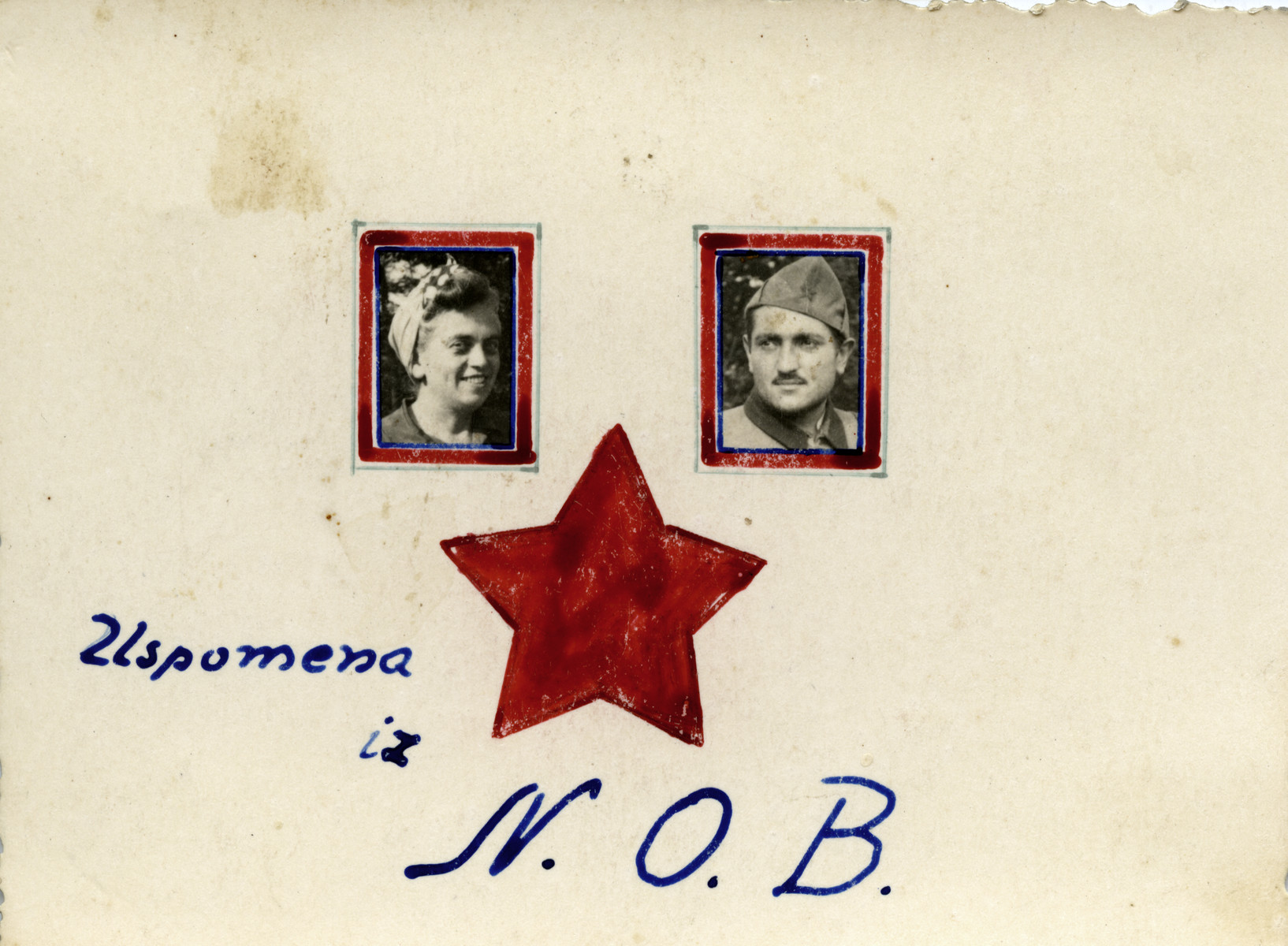"""Card with a drawing of a red star, photographs and the initials NOB (the Yugoslav Partisan movement).  The text reads """"a souvenir from the NOB."""""""