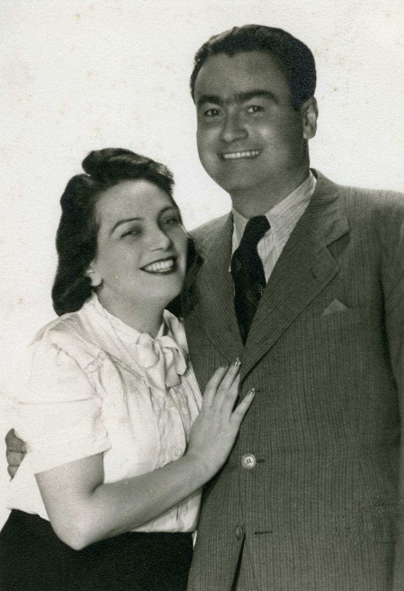 Studio portrait of Blanka Zitzer and her husband Vladimir First.  They were married for less than two months before he was deported.