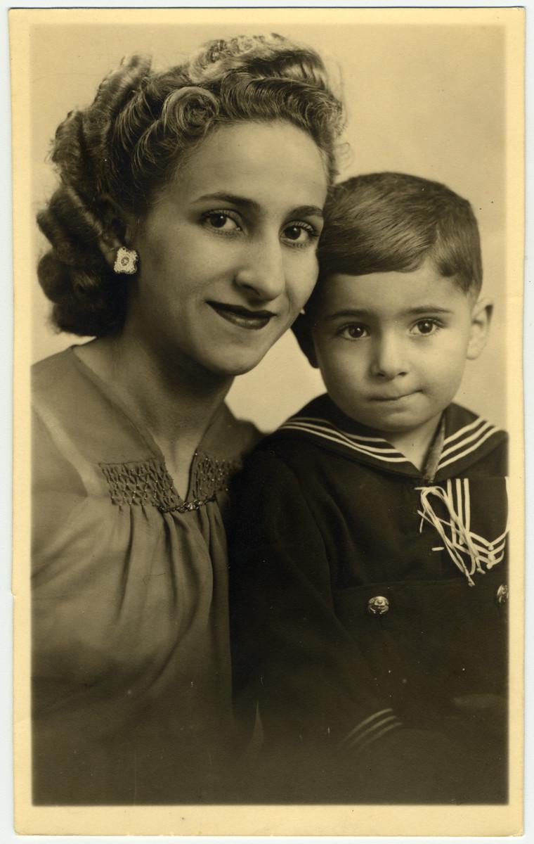 Studio portrait of Sonya and Marcel Tragholz after the war.
