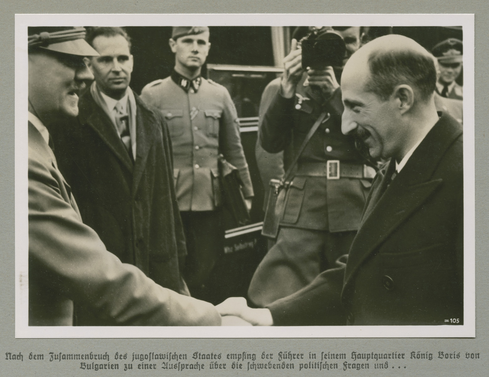 Adolf Hitler greets King Boris III of Bulgaria.   Original caption reads: The Führer received King Boris of Bulgaria at his headquarters following the collapse of the Yugoslavian state for discussion of pending political questions and...