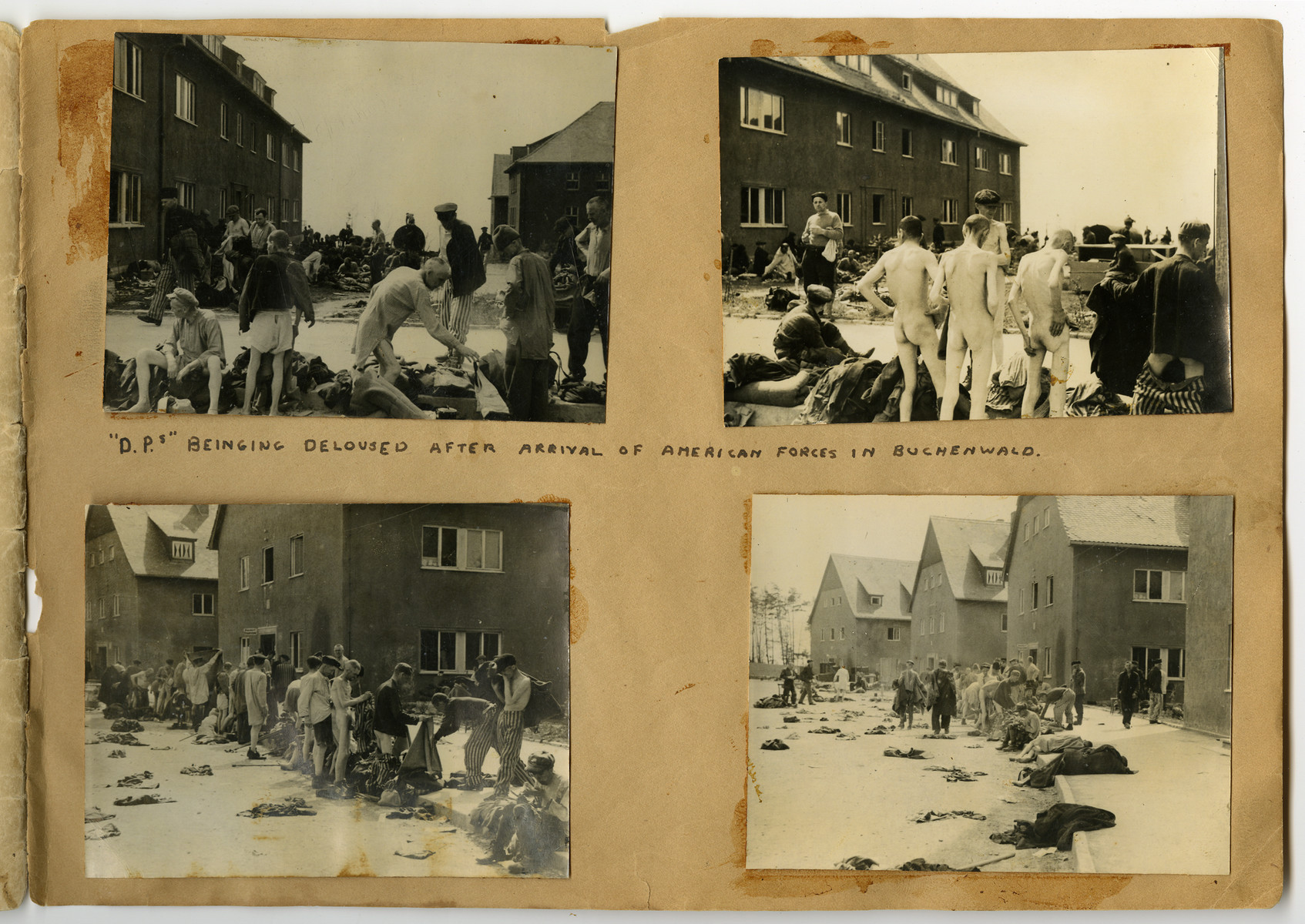 "Photographs of delousing pasted into a photograph album titled ""Buchenwald/or a Glance at German ""Kultur"""" by Murray Bucher."