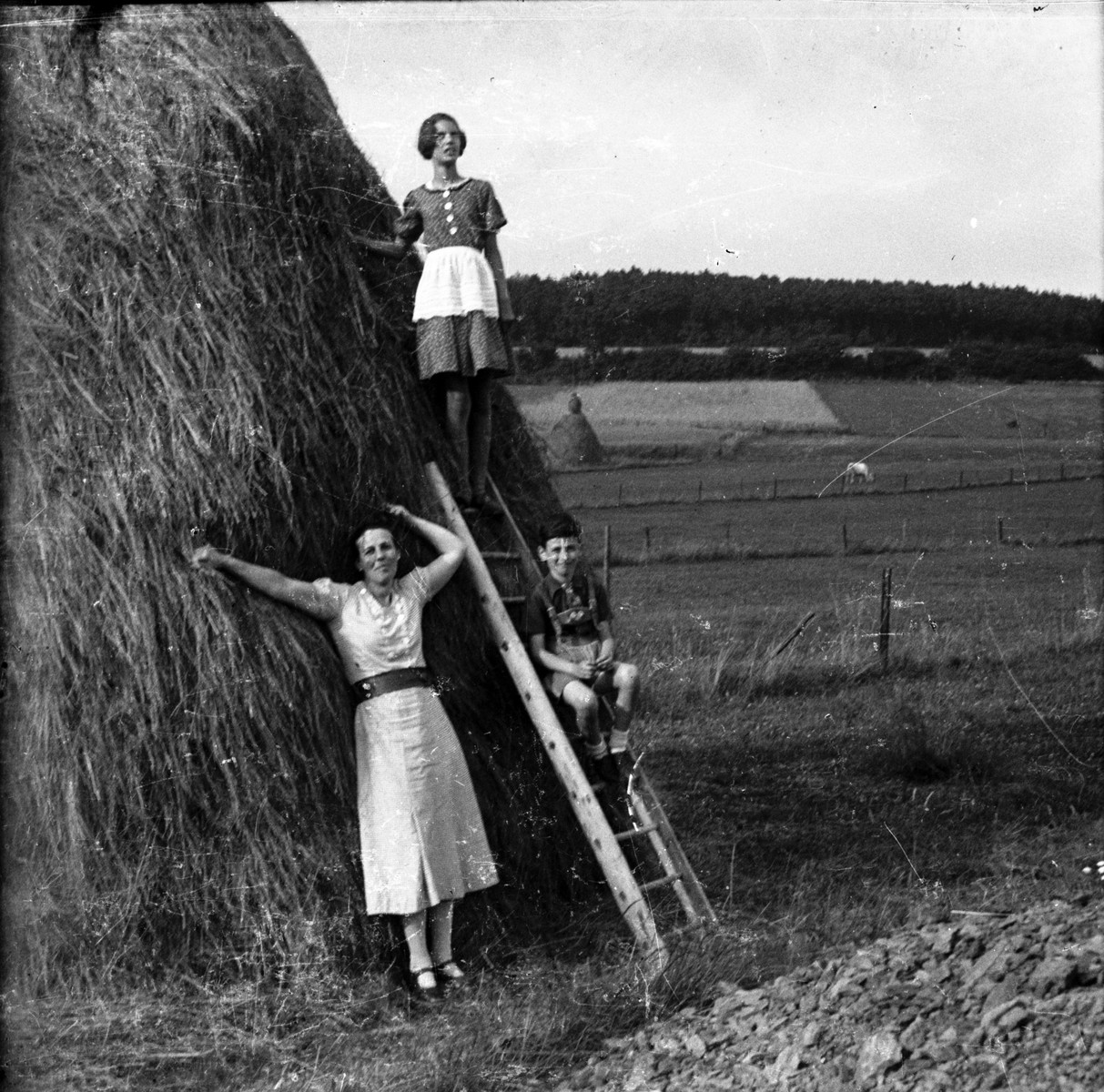 Rosa Lewinnek poses with her two children, Anne Laure and Arieh, next to a large haystack in a farm in Belgium.