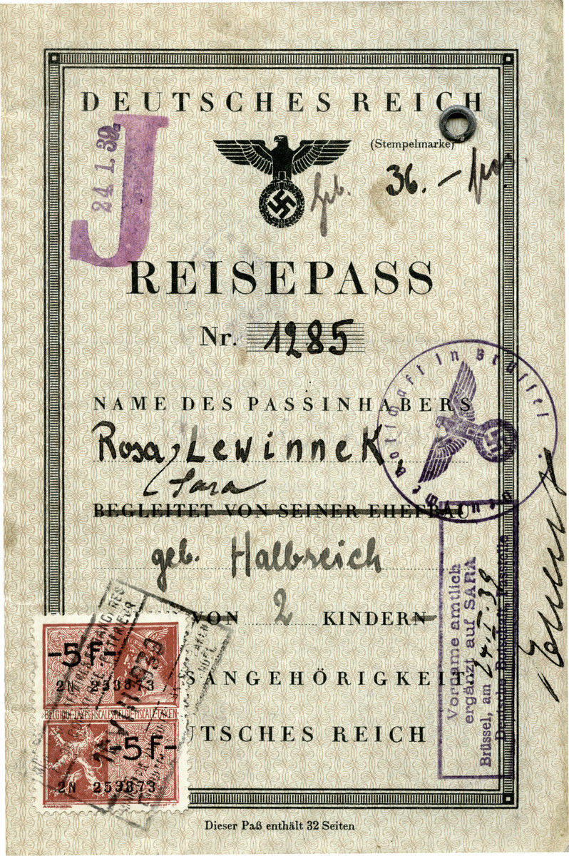 German passport stamped with a red J issued to Rosa Lewinnek in the embassy in Brussels.