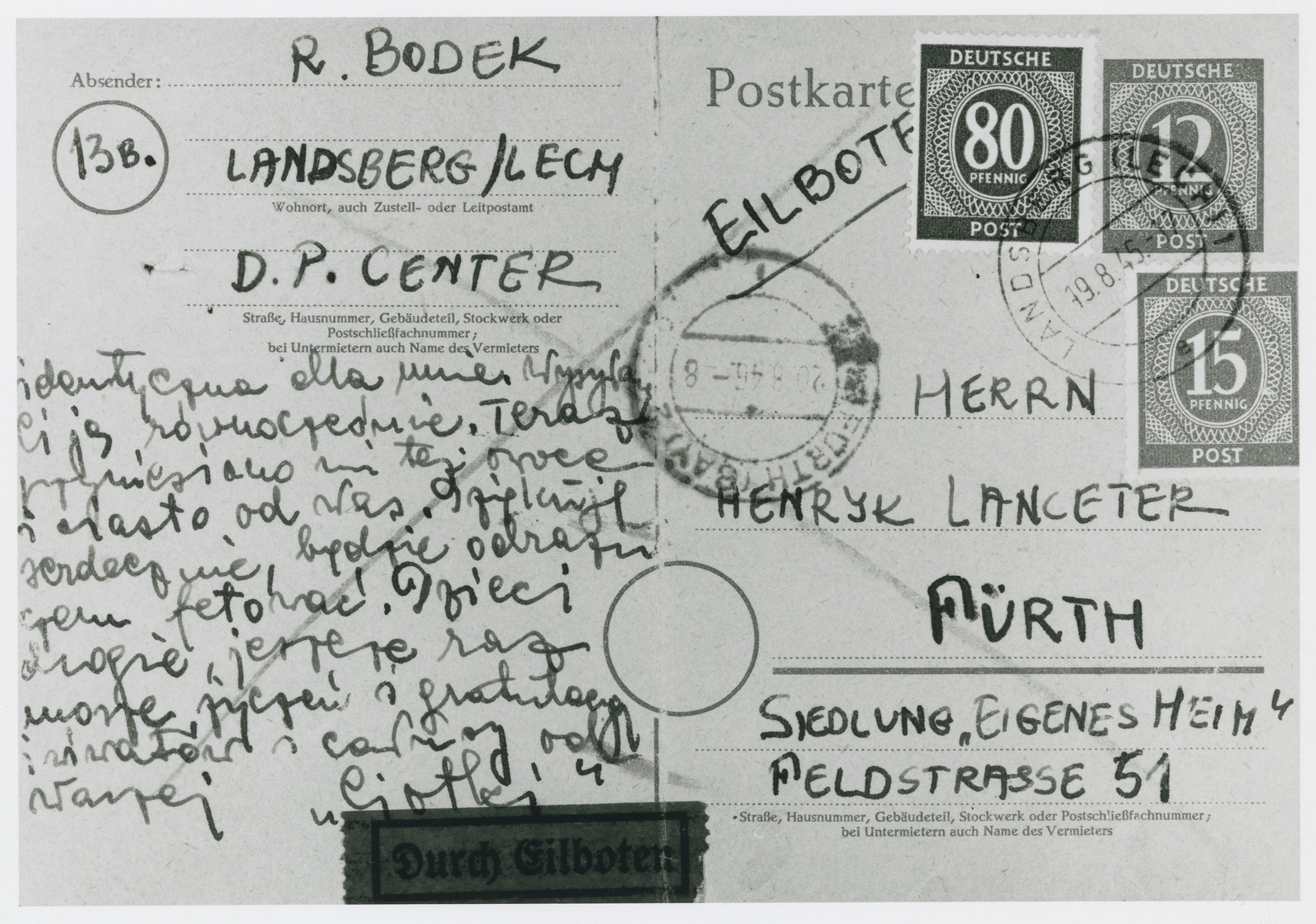 A postcard written by Gina Dustenfeld-Atsmon to her cousin, the donor, congratulating her on the birth of her daughter.