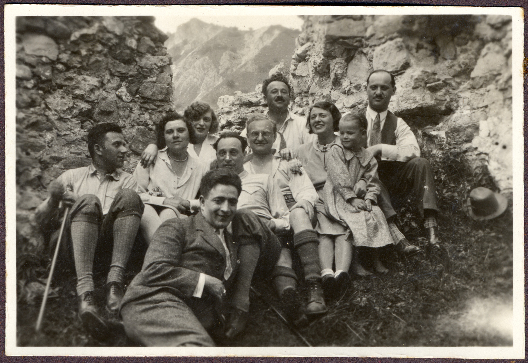 Gerta Stoessler Engel goes hiking with her friends in prewar Austria.  Greta is pictured in the second row, third from the left.  Her sister Stella is pictured in the second row, third from the right.