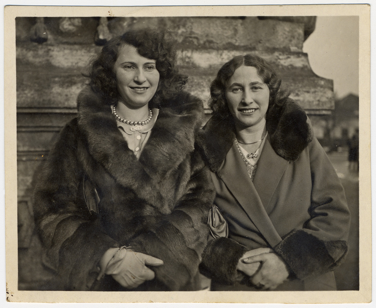 Close-up portrait of Erna and Martha Holzmann, twin sisters in Austria.