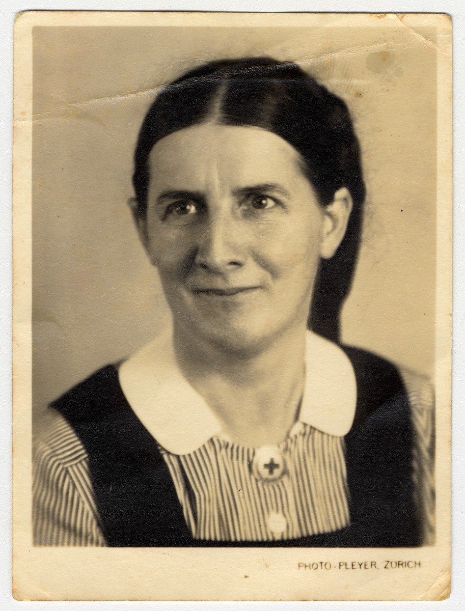 Close-up photograph of Annie Pflueger.  Annie Pflueger headed the Quaker sect in Switzerland and during the war, served as the head of the nurses school of Zurich.  The Quakers vehemently opposed the persecution of the Jews by the Nazi regime.  Sister Annie Pfluege, together with other Quakers, helped smuggle Jews from France to Switzerland and assisted them once they arrived.