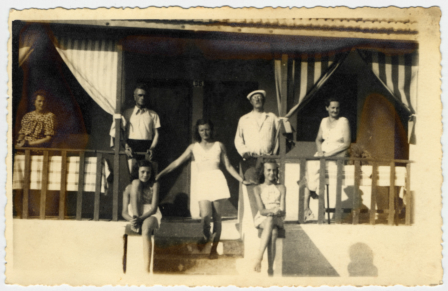Picture of two Albanian-German families who assisted the Gerechter family.  Pictured on the left are the Permeti family; pictured on the right are the Wallach family.  They allowed the Gerechters to live at their home while they were away.  Mrs. Permeti was an Austrian nurse and her husband was an Albanian pediatrician.  Their daughter  Erika pictured seated on the left was a close friend of Johanna Gerechter.  She went on to marry the son of Toptani, Atif & Ganimet who were later honored by Yad Vashem for saving 17 people.    Pictured on the right are the Wallach family.