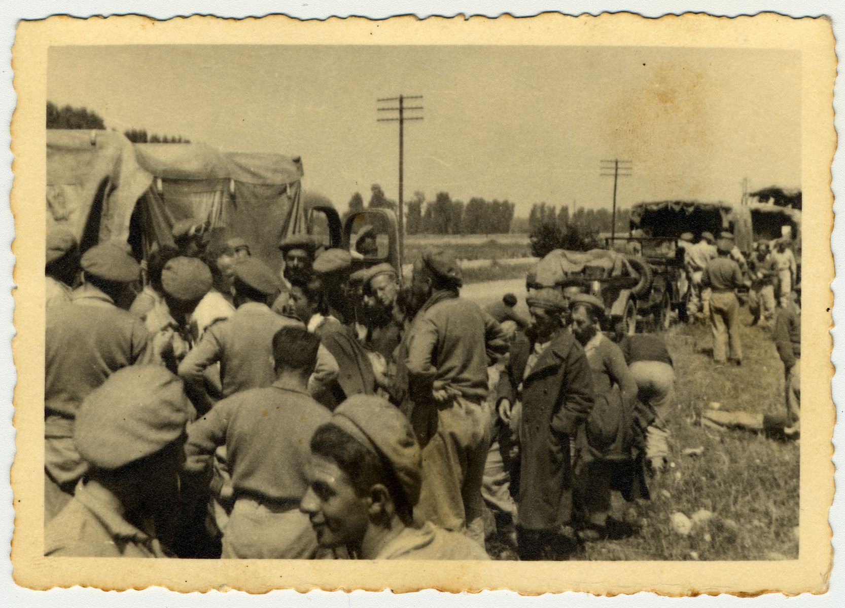 Jewish Brigade soldiers help smuggle Jewish refugees wishing to go to Palestine out of Germany by truck.