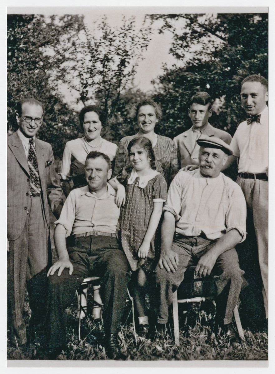 Group portrait of an extended German-Jewish family.  Pictured front are Max Rosenfeld, Bertel Rosenfeld, and Moritz Hermann.  Back are Sigbert Wertheimar, Selma Rosenfeld (Max's wife), Sidonie Hermann, (Moritz's wife), her son Adolf Hermann and Eric Sonnemann.