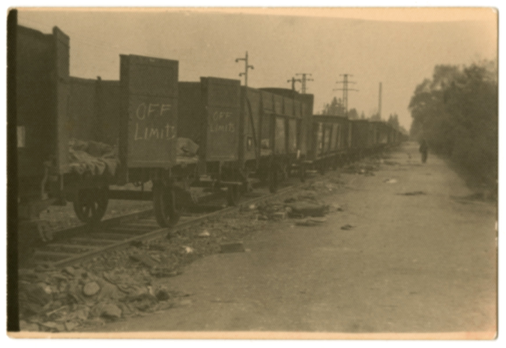 View of the Dachau death train taken shortly after liberation.