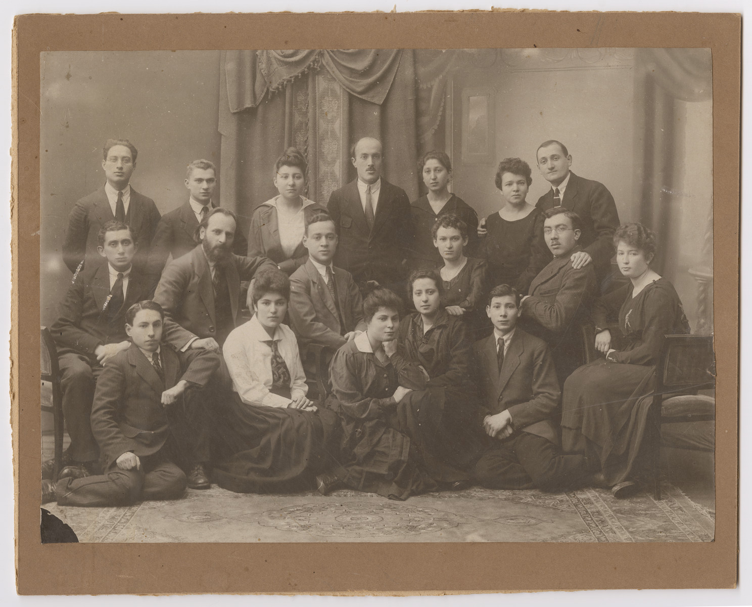 Group portrait of Jewish youth in an unidentified social club in Vilna.