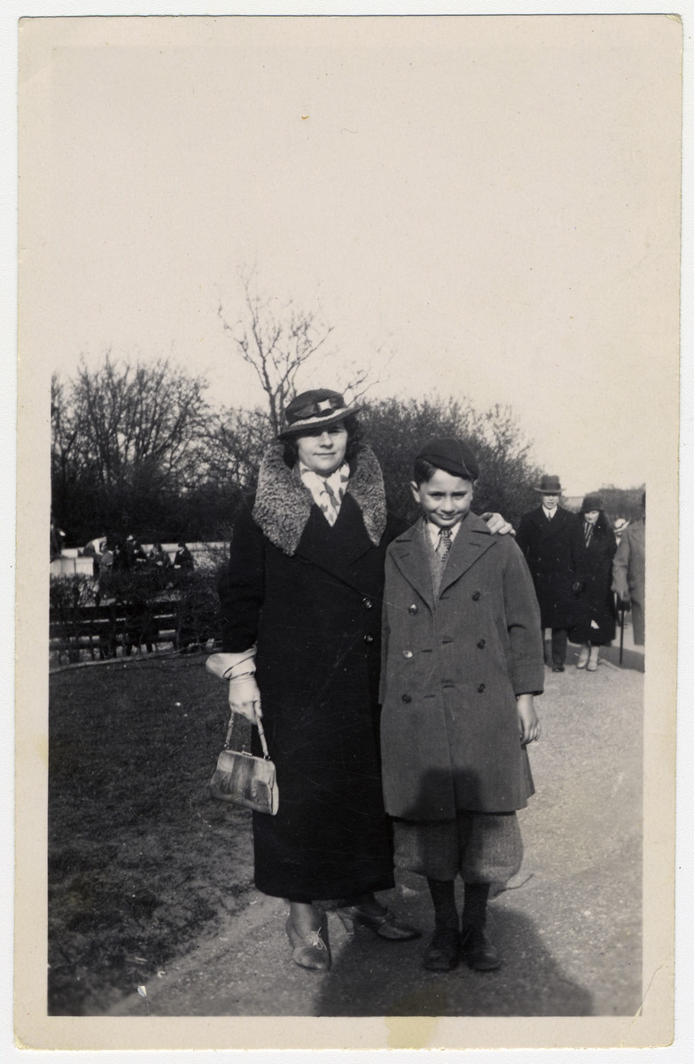 A Jewish mother and her son pose in a park in Copenhagen.   Pictured are the donor, Herbert Krogman, and his mother Frida.