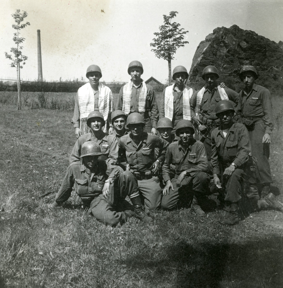 Group portrait of American Jewish soldiers.  Among those pictured is Chaplain Geller (back row) who assisted the donor after liberation.