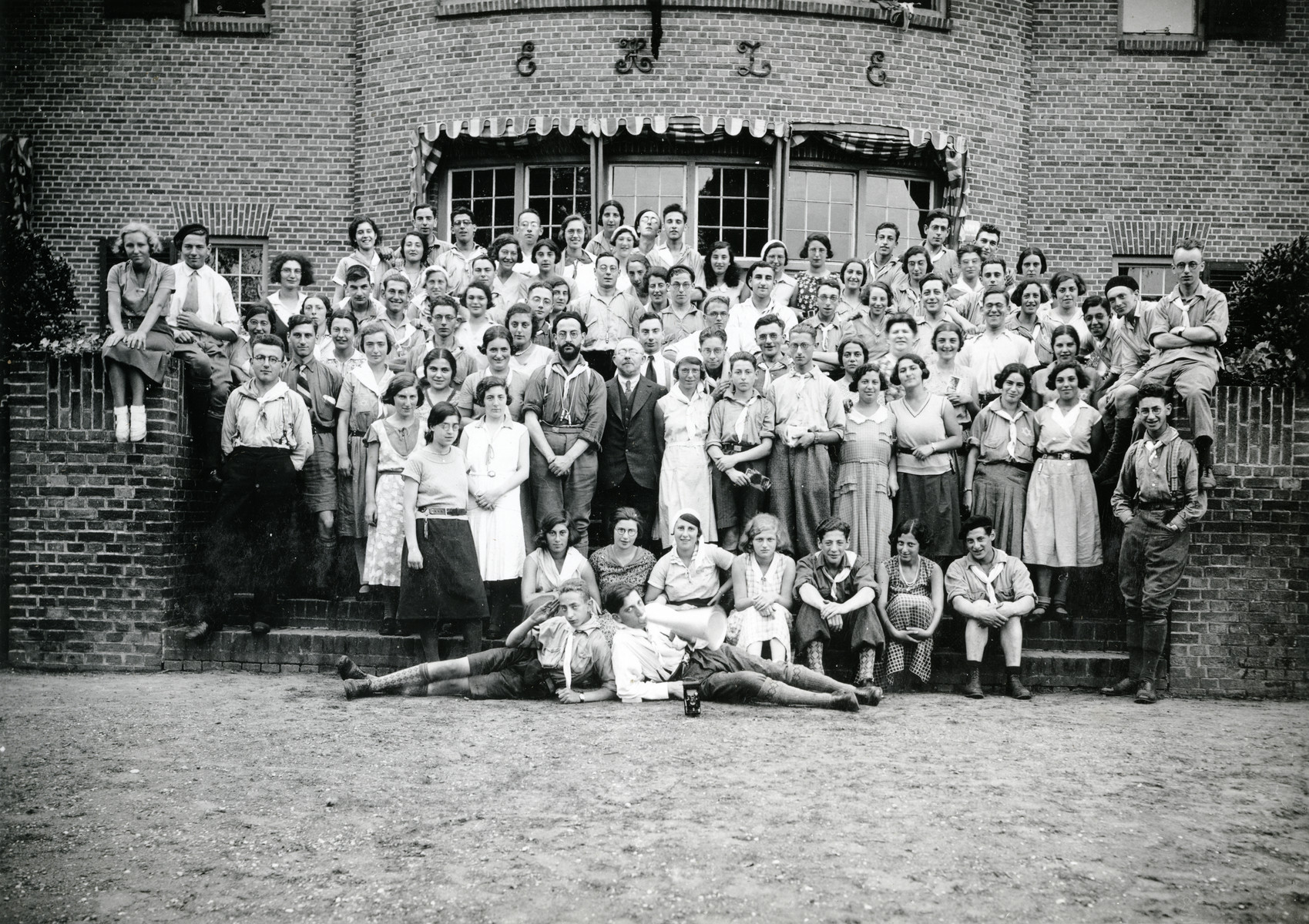 Group portrait of a Mizrachi religious Zionist youth group in The Netherlands.