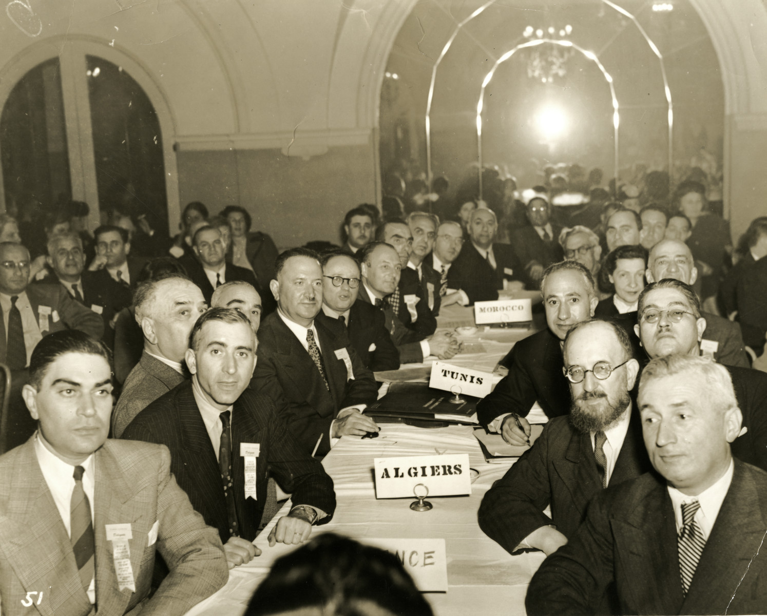 Delegates from North Africa attend the 1944 War Emergency Conference of the World Jewish Congress.  Prosper Cohen is seated eighth from the right.