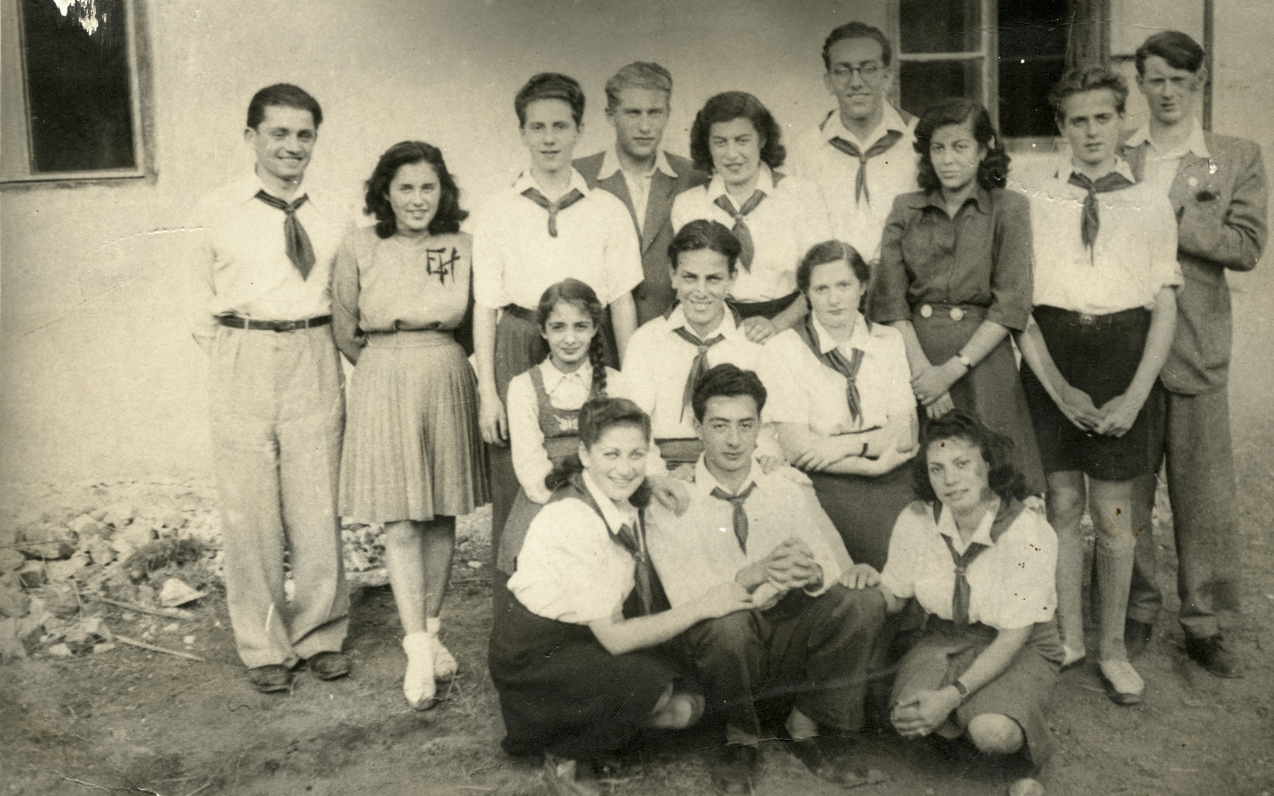 Members of the Zionist youth group Gordonia pose for a photograph in postwar Kosice.  Pictured are brothers Zvi Braf (front row, center) and Itzhak Braf (second row, center).