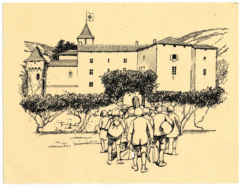 A child's drawing of the Chateau de la Hille.