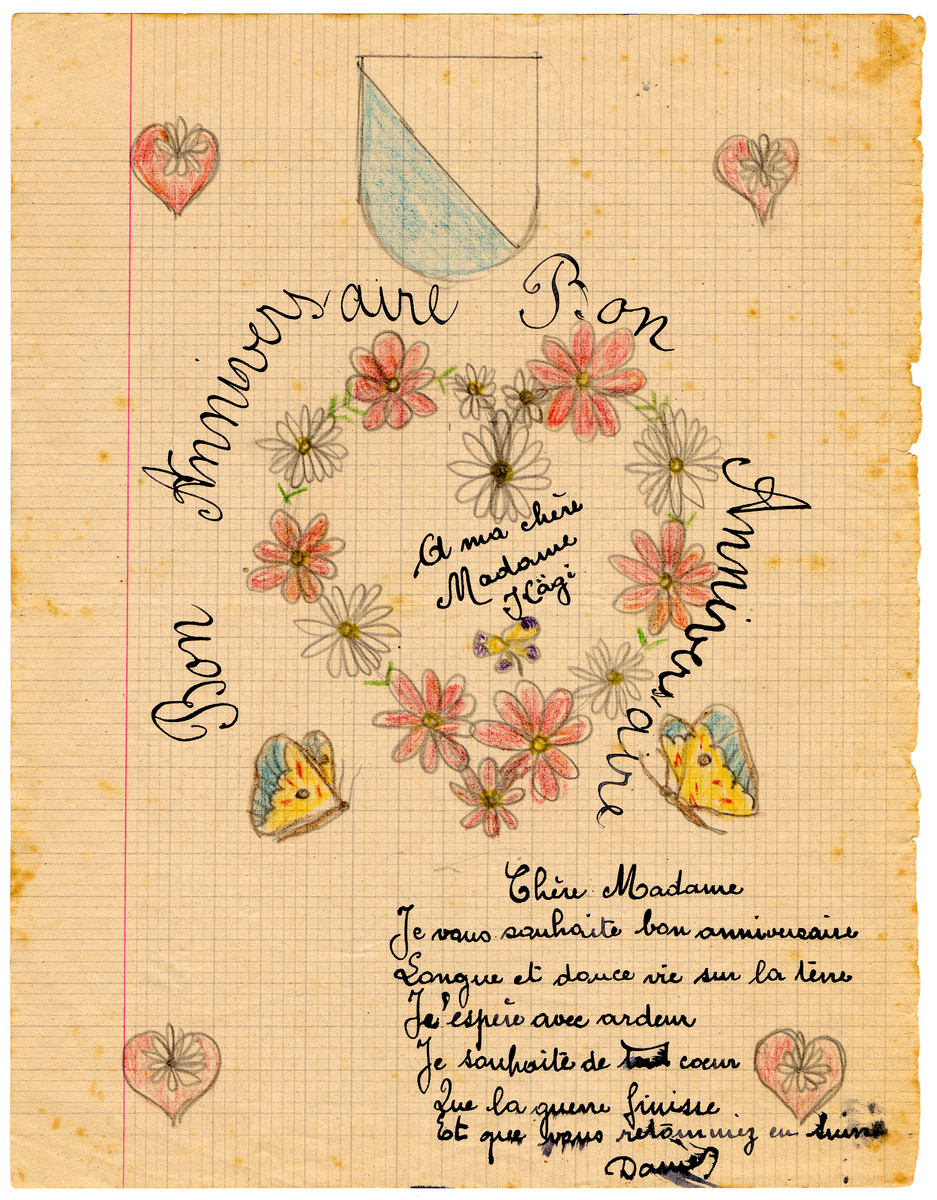 Birthday card drawn by a child Chateau de la Hille.
