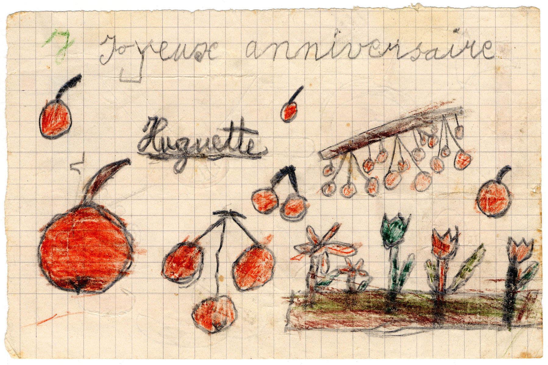 "Color child's drawing of fruit and flowers made in Chateau de la Hille.  The caption reads ""Happy Birthday."""