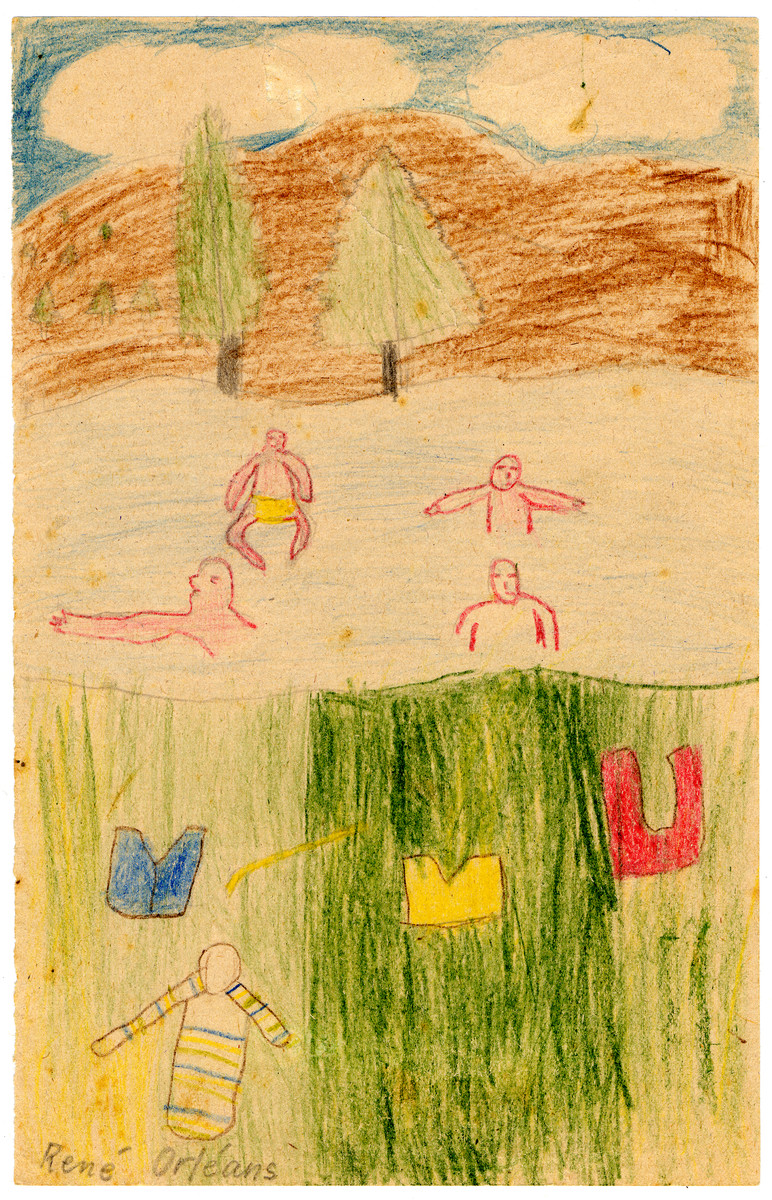 A child's drawing of people swimming in a lake from Chateau de la Hille.