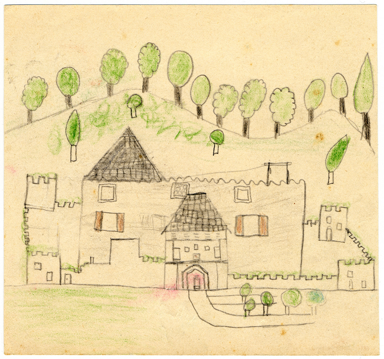 A child's drawing of Chateau de la Hille.