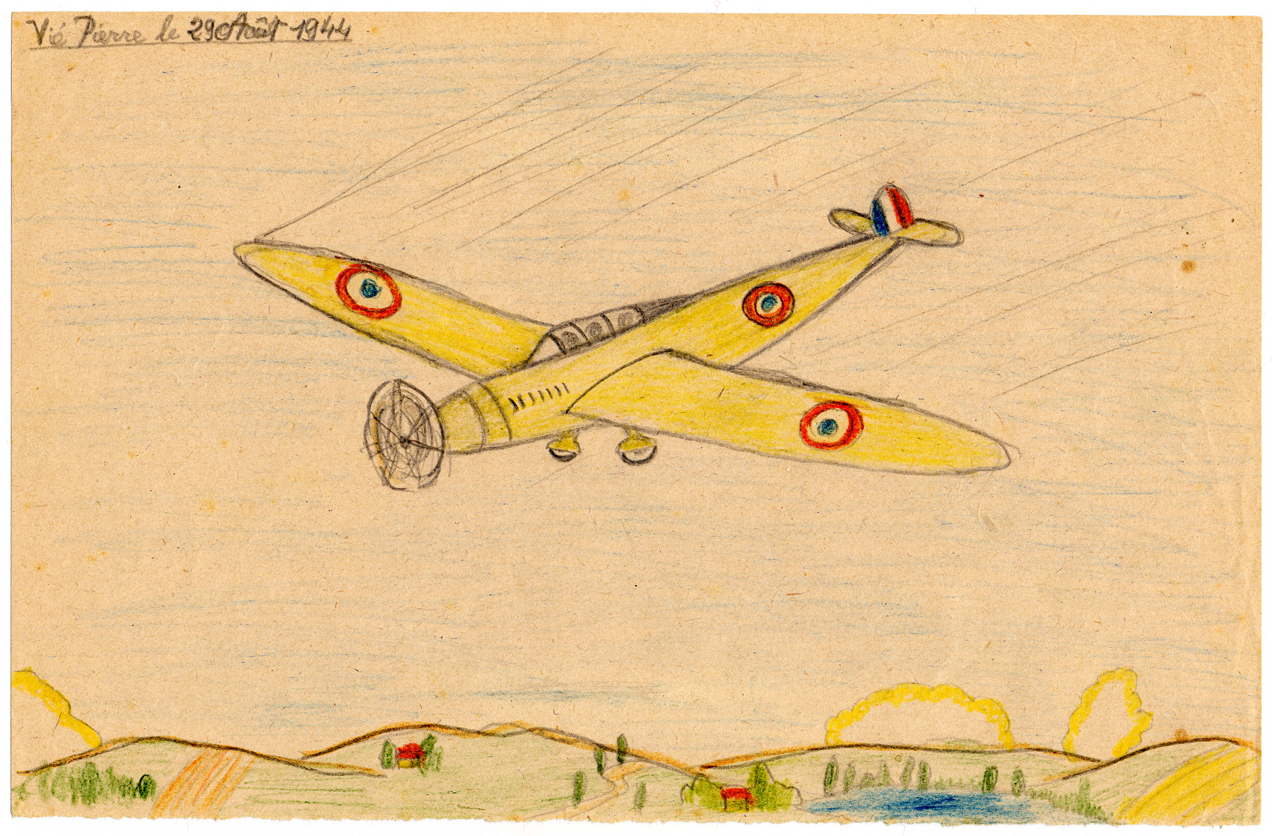 A child's drawing of a plane in Chateau de la Hille.