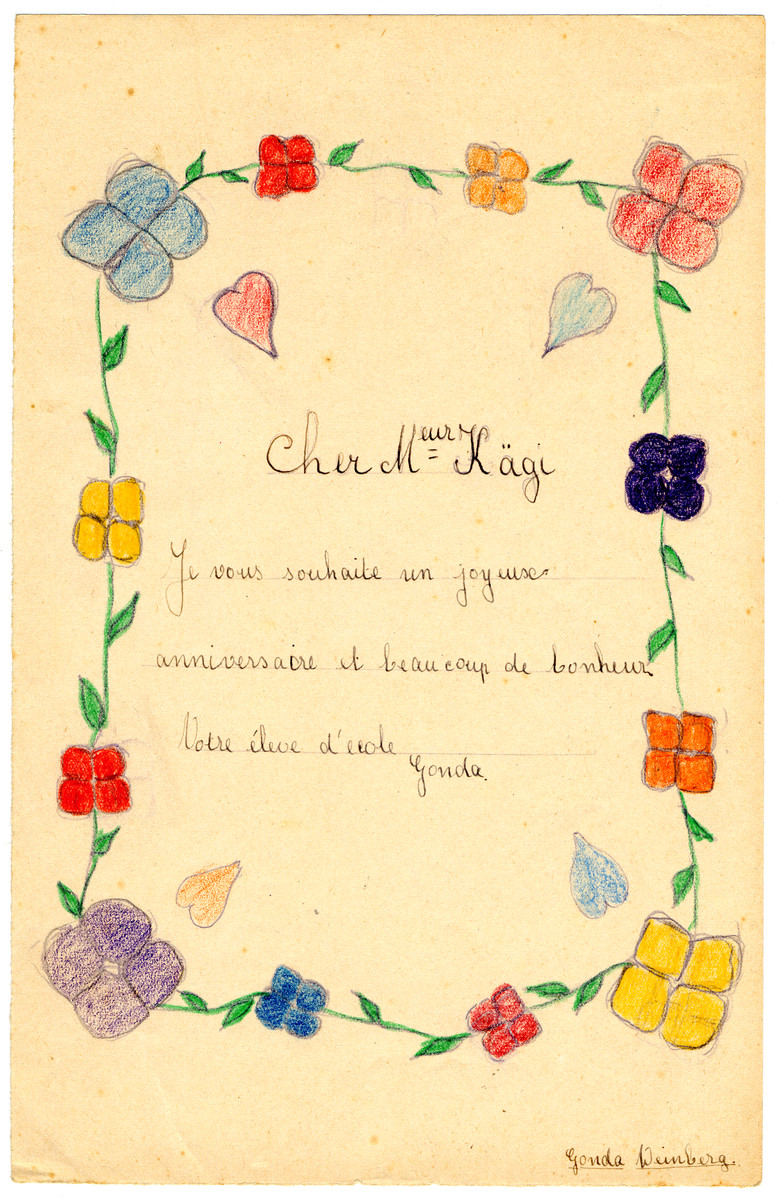 Color Childs Drawing Of A Birthday Wish In Chateau De La Hille Decorated With Flowers To
