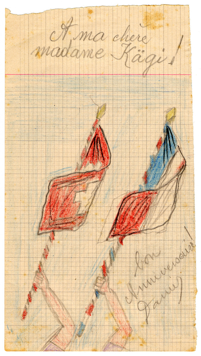 Color child's drawing of flags in Chateau de la Hille wishing Mrs. Kagi a happy birthday.