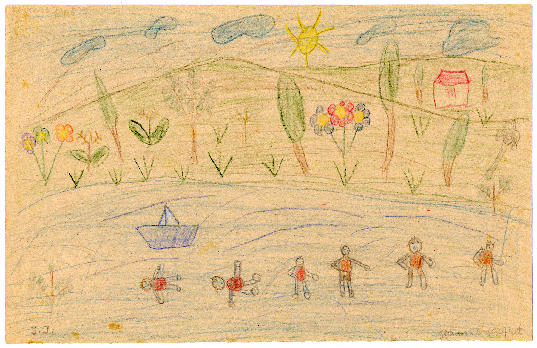 A child's drawing of swimming/playing in a lake in Chateau de la Hille.