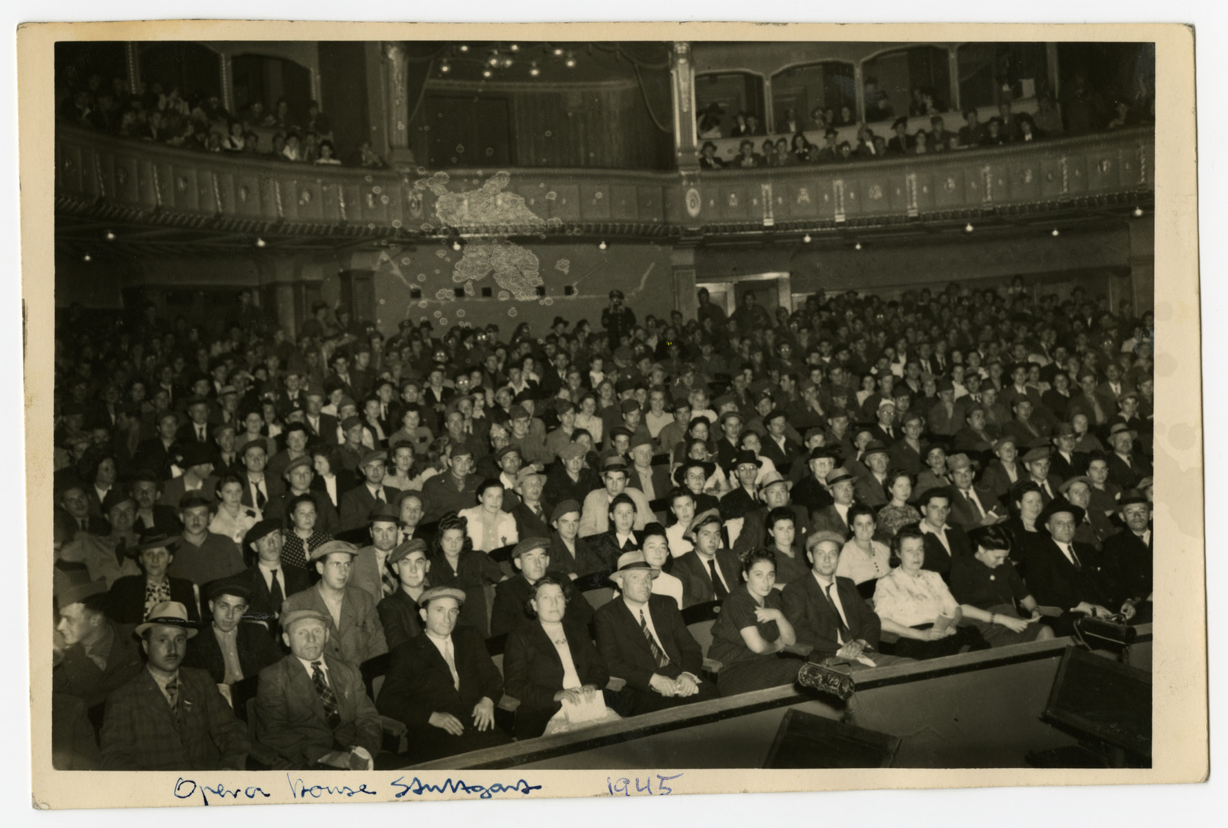 Jewish displaced persons attend the first High Holiday services after liberation held in the Stuttgart opera house.