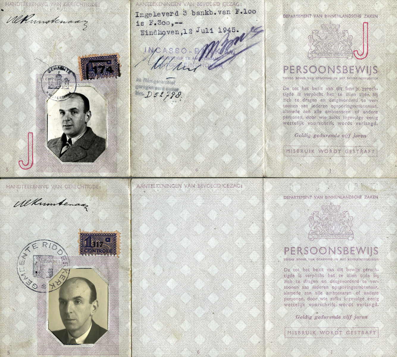 Identification card of Marion Kunstenaar's father, Michel Kunstenaar, marked with a J.