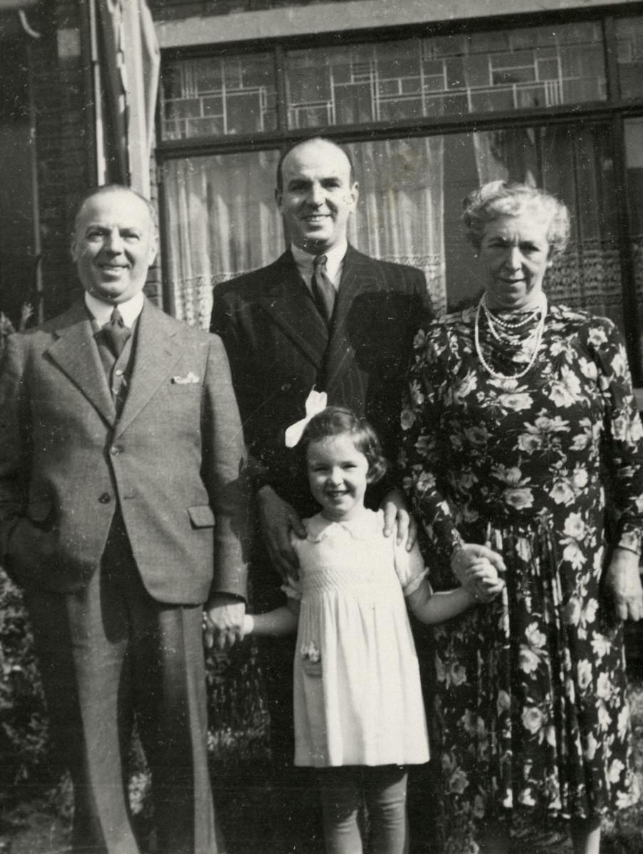 Portrait of Marion Kunstenaar with her father Michel and her grandparents, Joseph and Marie Kunstenaar.
