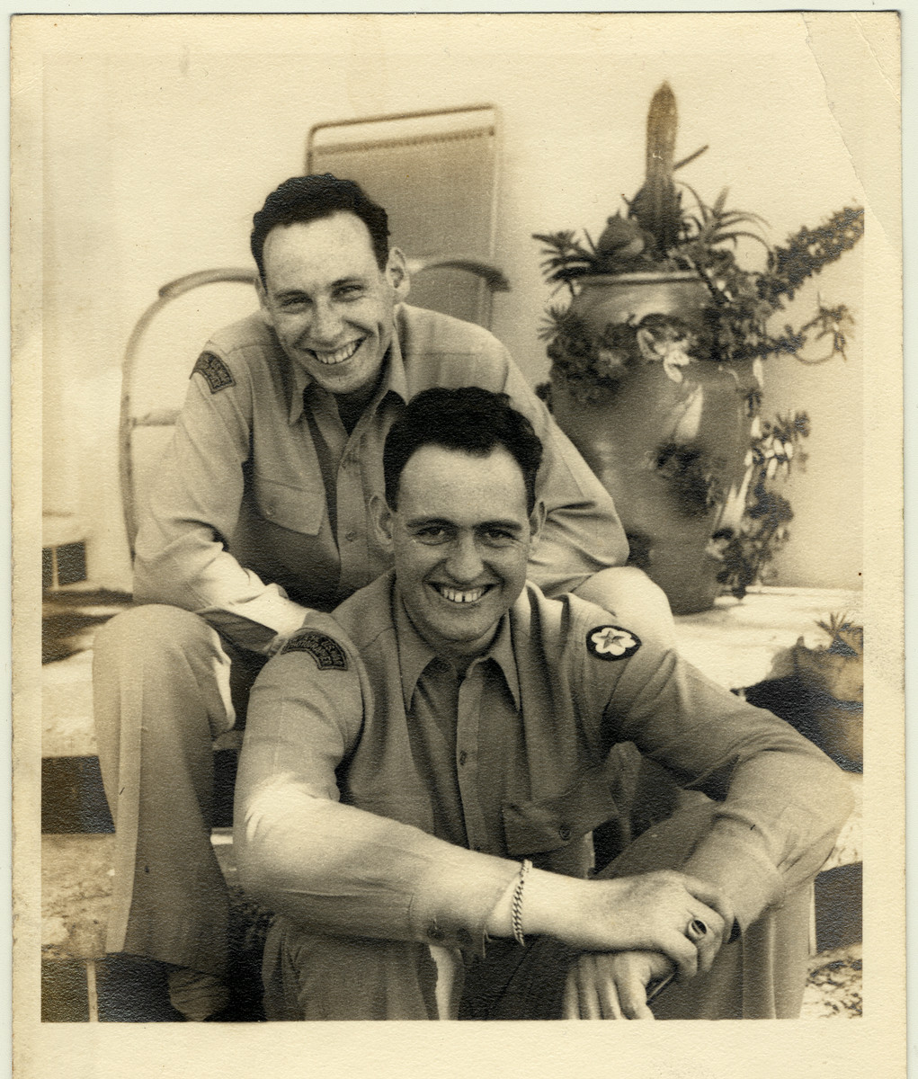 Portait of American Jewish signal corps photographers, Kurt and Paul Enfield at their parents home in Miami Beach.  Paul is on top, Kurt is below.
