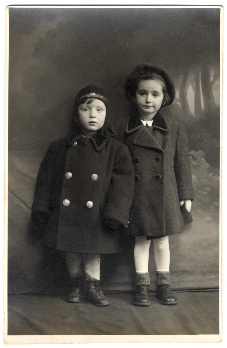 Studio portrait of Katie and Adi Engel taken after after fleeing with their mother to Hungary.